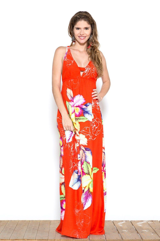 dd4e167c8a48 VESTIDO LONGO ESTAMPA MAXI ORQUÍDEA - ohboy | vestido | Vestido ...