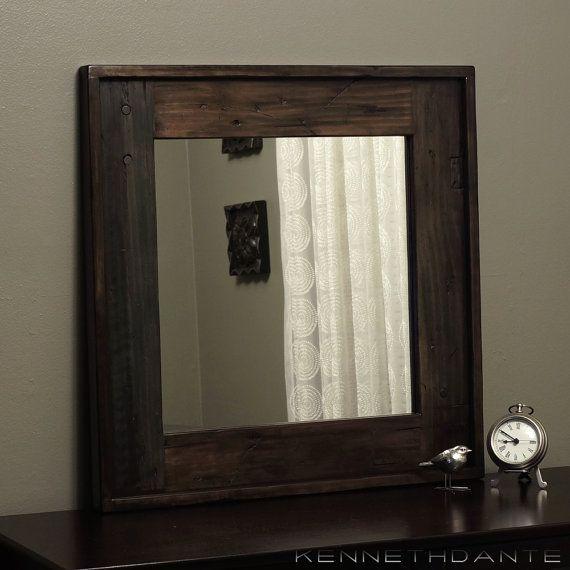 Barn Wood Mirror Distressed Blue Brown W Dowel By KennethDante, $167.00