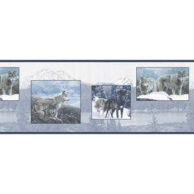 Brewster Northwoods Lodge Scenic Wolf Wallpaper Border