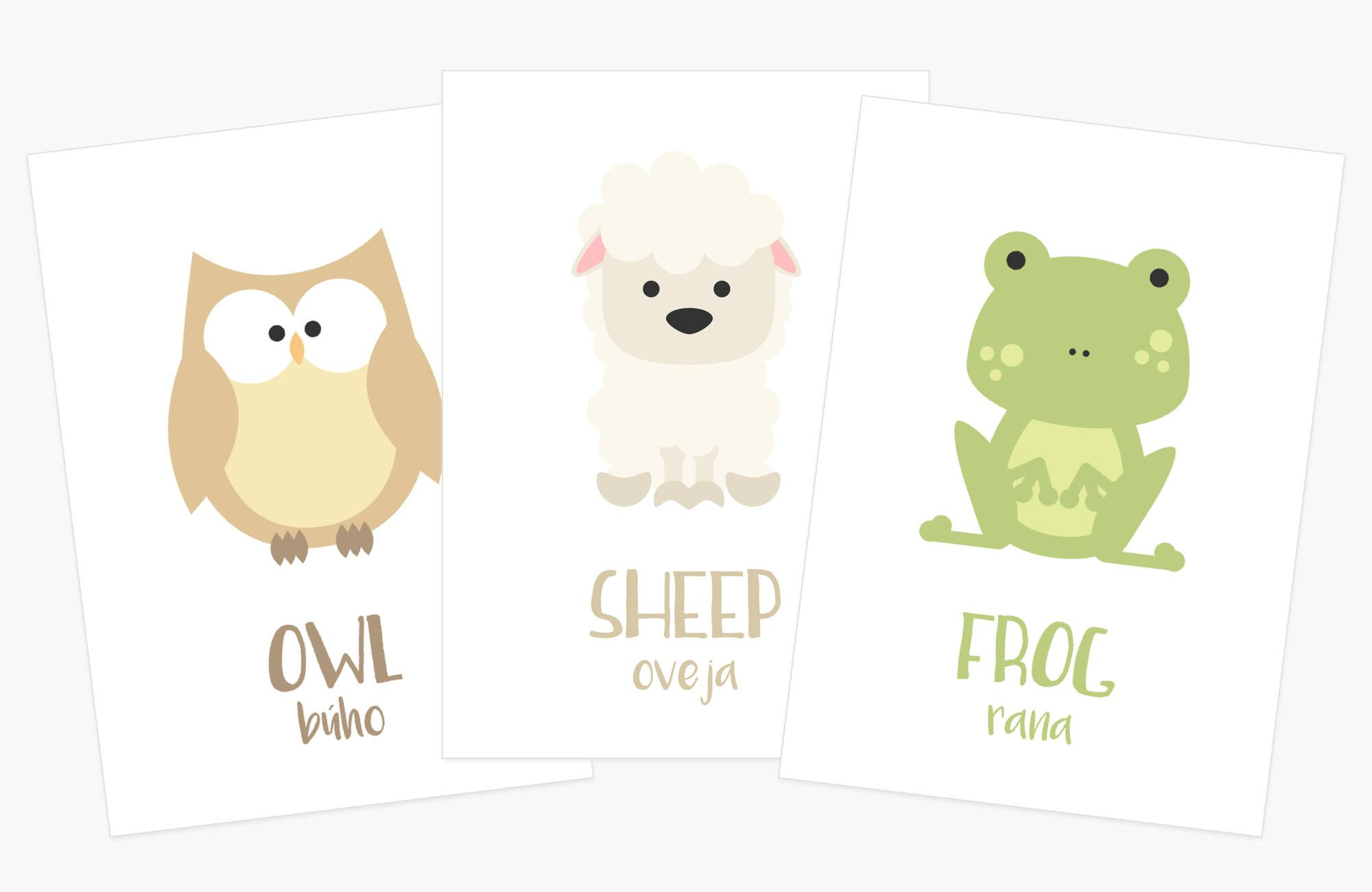 T For 2 Year Old Farm Animal Flash Cards Spanish