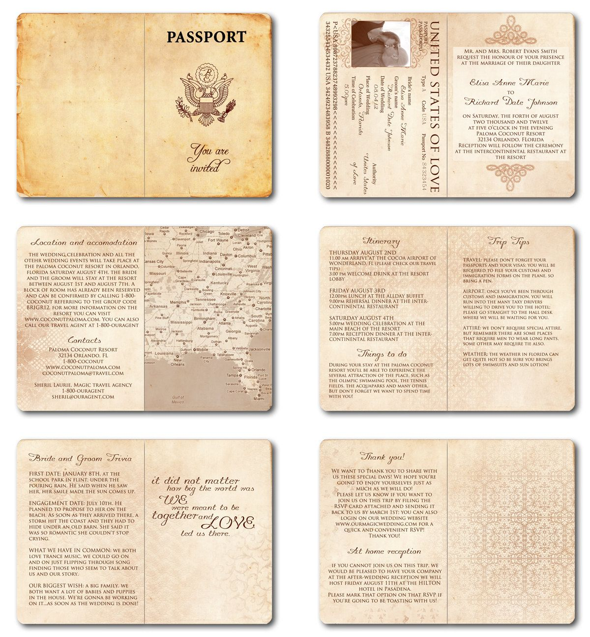 Wedding Invitation Passport Printable Template - Vintage Passport 6 ...