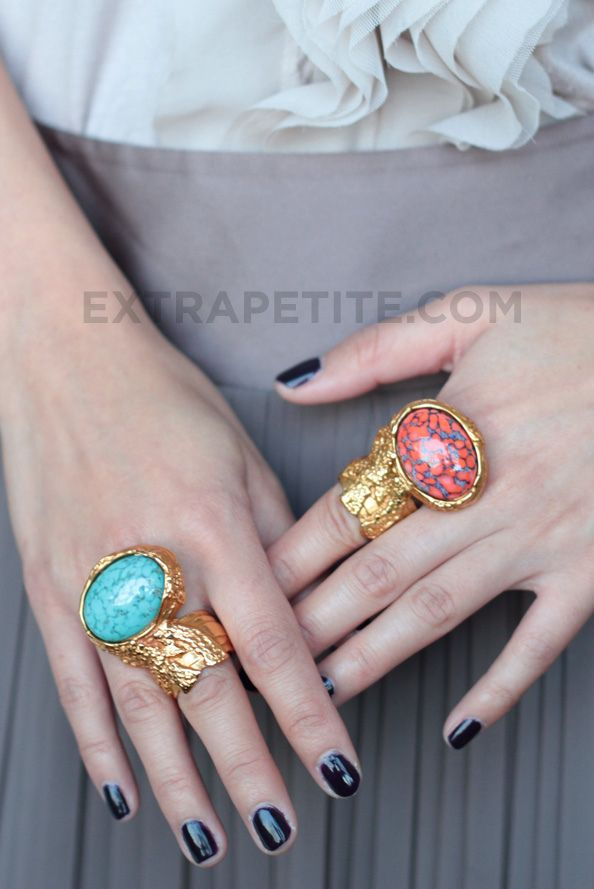 Yves Saint Laurent Arty Ring in Turquoise and Coral, sz 5. Source: http://www.extrapetite.com/2011/02/ysl-arty-rings-for-petite-fingers.html