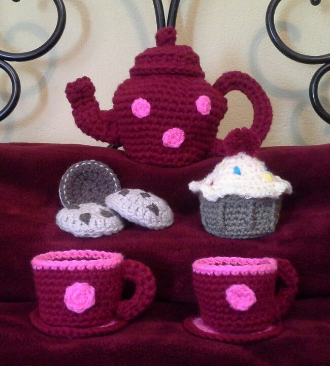 Crochet Tea Set Free Pattern Redheartfilespatterns