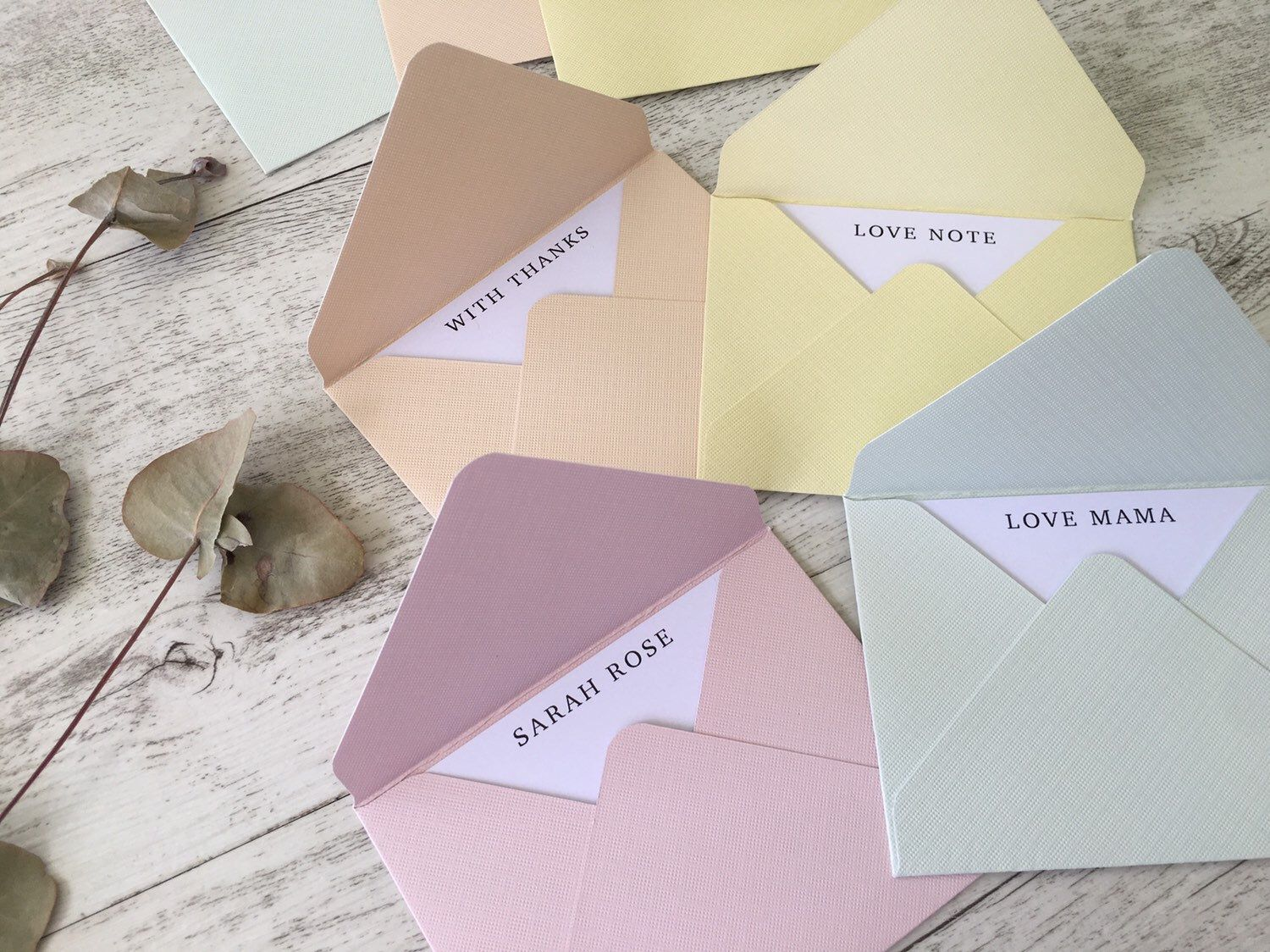 Mini Envelopes with Personalised Inserts - SHERBET- set of 8 - thank you - with love - love notes - business thank you - custom no #businessthankyoucards