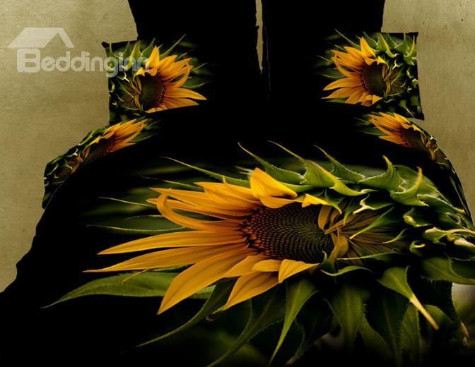 New Arrival High Quality 100 Cotton Blooming Sunflower 4 Piece