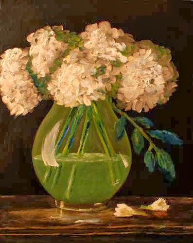 Hydrangea - oil on canvas http://4oneaday.blogspot.com/2014/01/oil-on-canvas.html