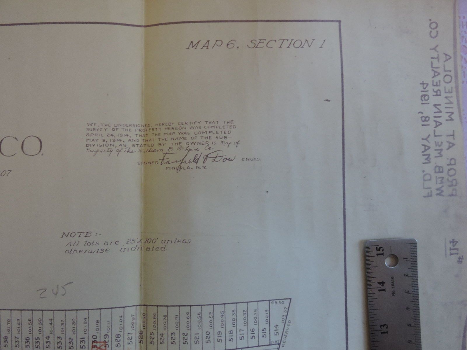 1914 Original Mineola Survey Map Showing Layout Of Plots For Sale Along Westbury Avenue Dow Engineering