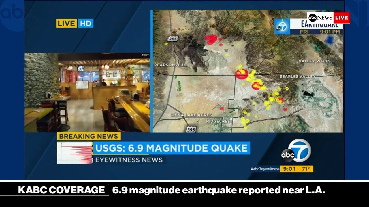 Breaking News 7 1 Magnitude Earthquake Reported Near Los Angeles Kabc News Coverage Youtube Bad Storms Environmental Issues Live Hd