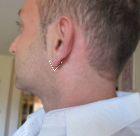 Triangle Earring For Men Uni Sterling Silver By Nadinartdesign 13 00