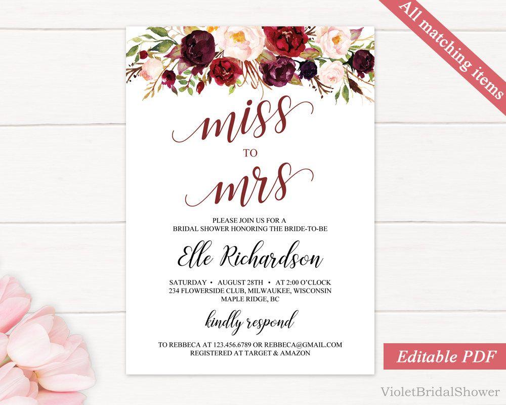 Marsala Miss To Mrs Invitation Printable Bridal Shower Invitation