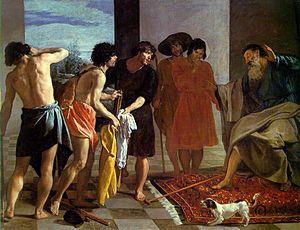 La túnica de José, (1630). En este primer viaje a Italia el conocimiento de los maestros italianos perfecciona su técnica. En este cuadro se evidencia en sus modelados anatómicos, en los juegos de luces, en la armónica claridad de color y en una composición más estructurada y compleja.