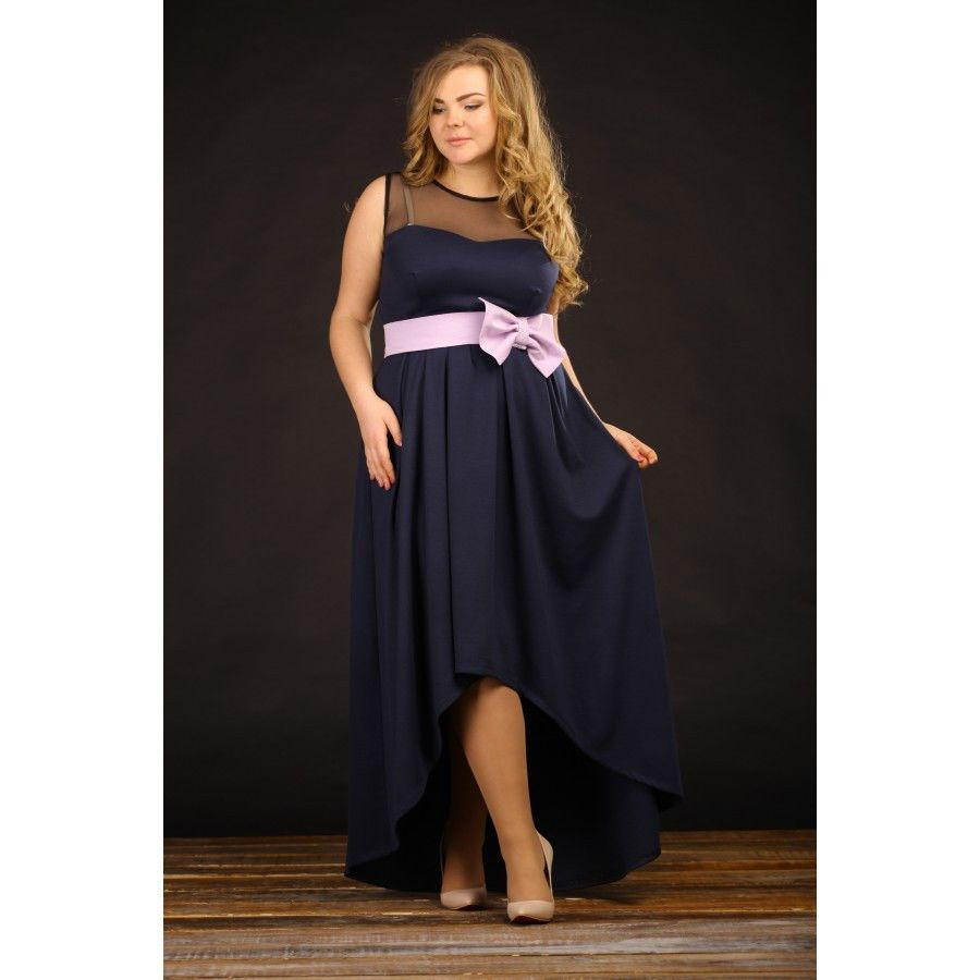 3664a40a8af441e Я-Модна - купить Женское нарядное вечернее платье больших размеров Бант  цвет темно синий размер