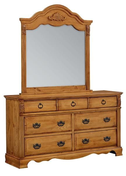 Honey Pine Wood Gl Dresser Mirror