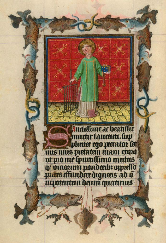 """""""San Lorenzo con cornice raffigurante un intreccio di pesci"""", miniatura tratta dal 'Libro d'Ore di Cathèrine de Clèves' (1440 circa), Morgan Library & Museum, New York."""
