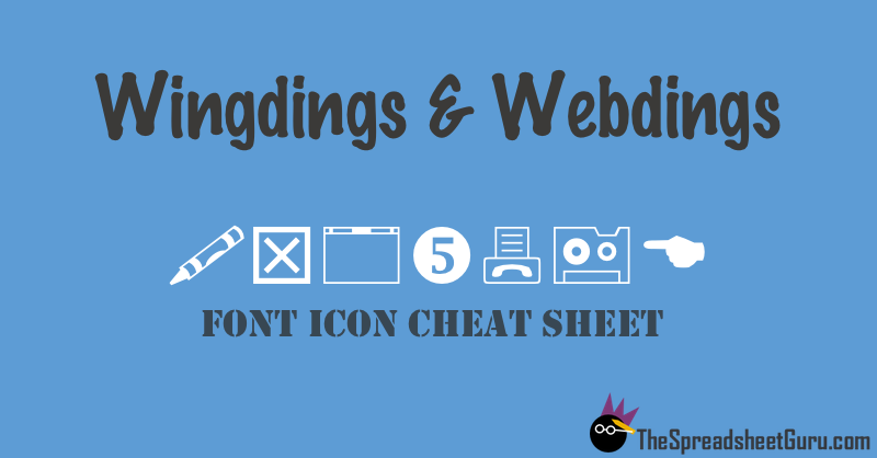 Wingdings & Webdings Font Icon Character Map (Printable Cheat Sheet ...