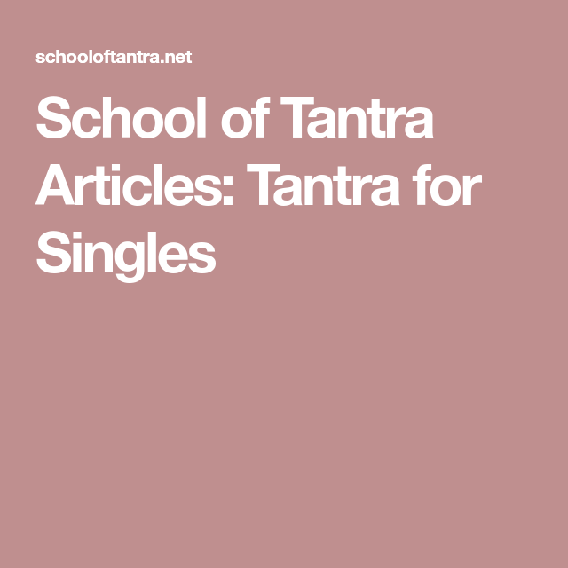 Tantra for singles
