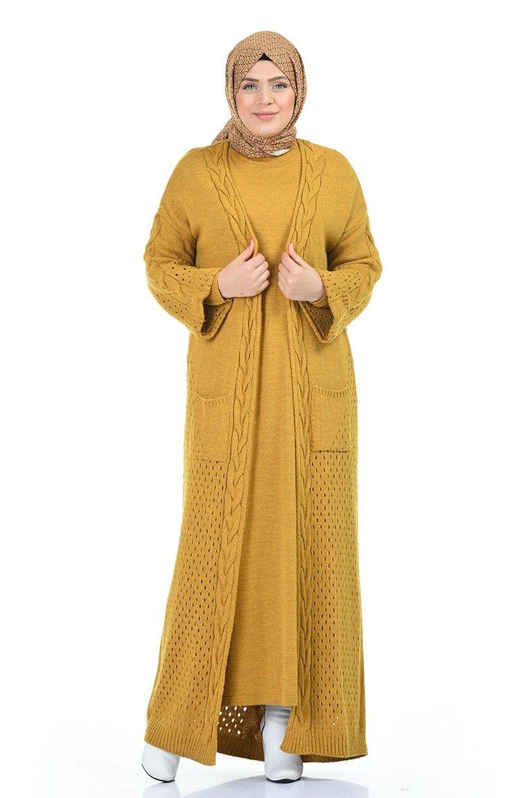 Sefamerve Buyuk Beden Triko Elbise Hirka Ikili Takim 8072 04 Hardal In 2020 Fashion Fashion Dresses My Style