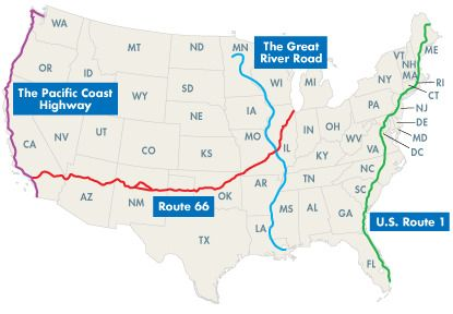 Best US Roadtrips Great Drives Bag Route And Road Trips - Us map best roadtrip map