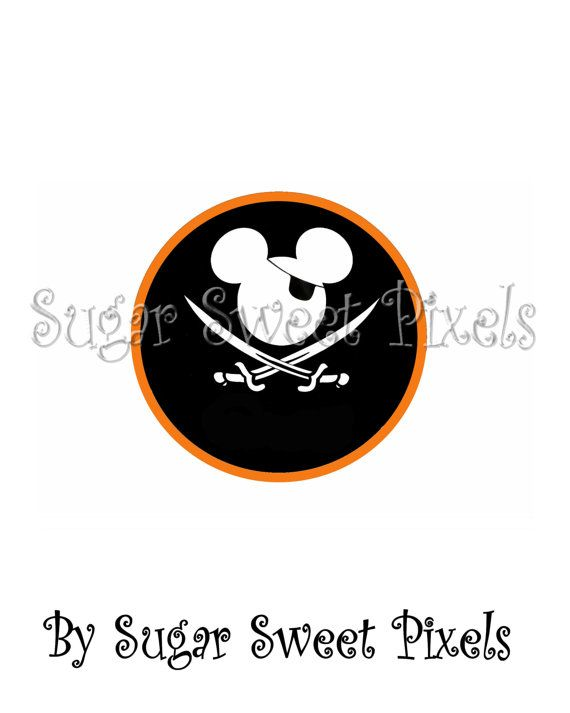 INSTANT DOWNLOAD Orange Pirate  Mouse Head  by sugarnspicebow