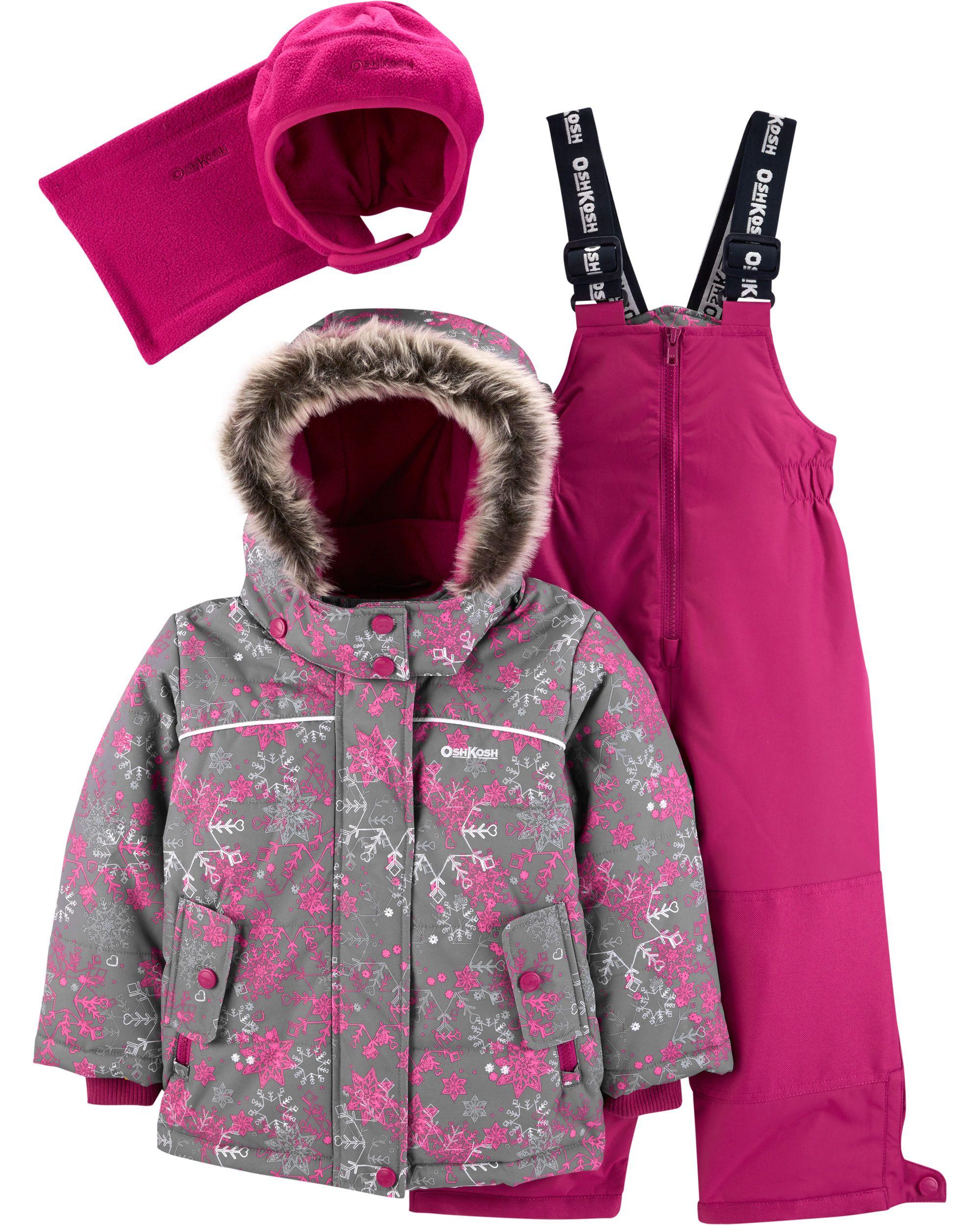 77d30b5f6 OshKosh B gosh 2-Piece Fleece-Lined Snowsuit with Bonus Hat   Neck ...