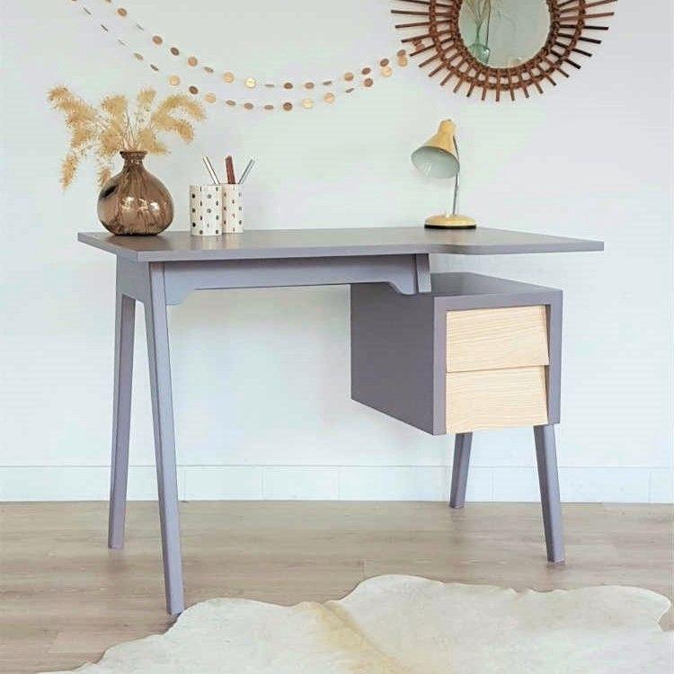 Bureau scandinave en bois couleur gris taupe pieds compas - Bureau gris taupe ...