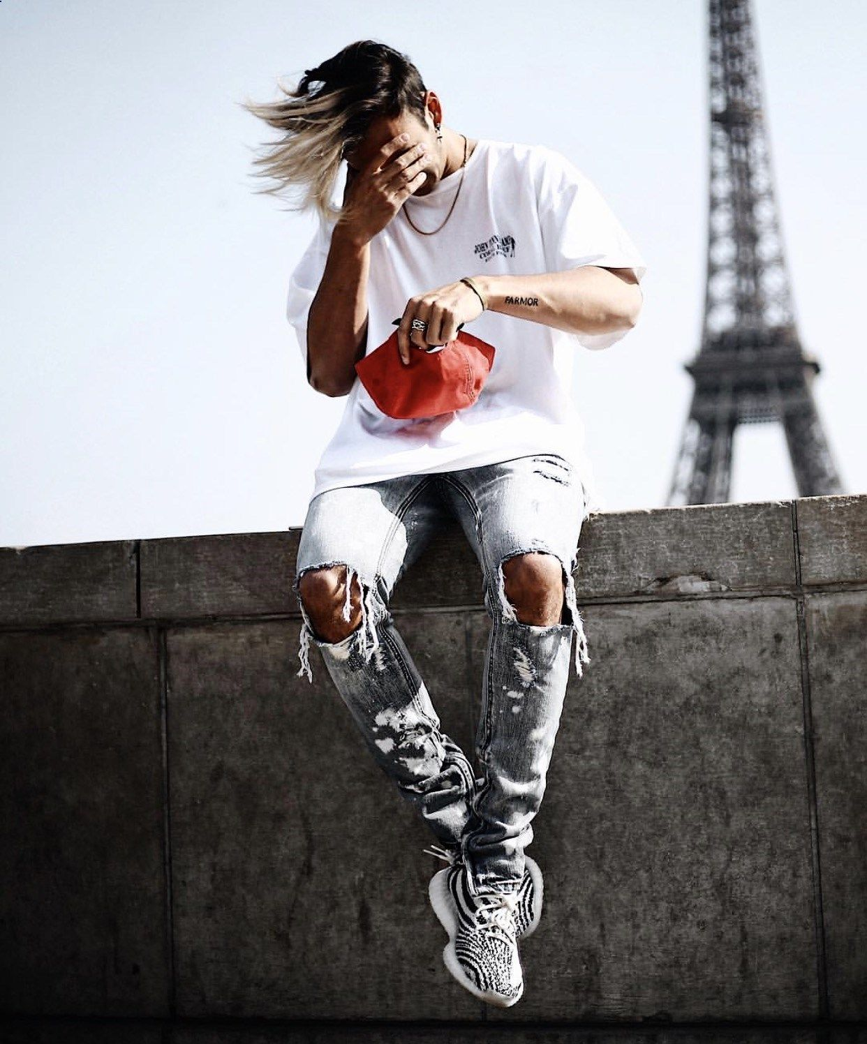b555eeab4c9 In Paris. Via   maiknila on Instagram. Featuring the  adidas Yeezy Boost  350 V2 Zebras sneakers.