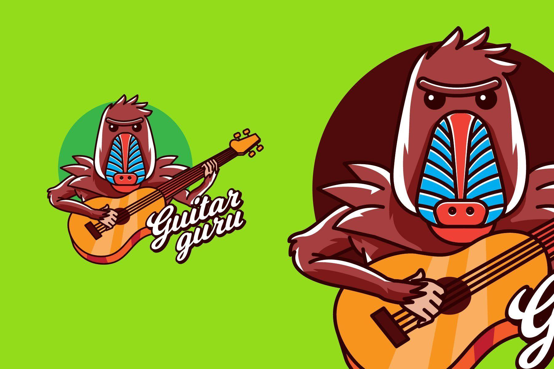 GUITAR GURU Mascot & Esport Logo by AQR Studio on
