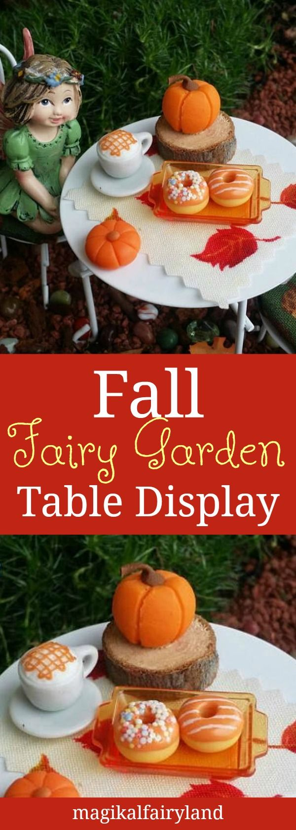 I LOVE fairy gardens!! This would make a great gift for fairy garden lovers (and me.) Miss Fairy is enjoying some fall treats early this season!! With caramel macchiato, some Fall pumpkin spice Donuts. This is a one-of-a-kind scene. Fairy garden table display, miniature #Sponsored