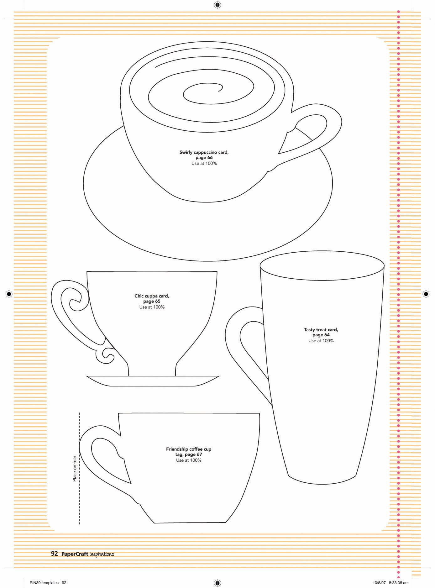 paper cup template http www pinterest com colettescottage tea