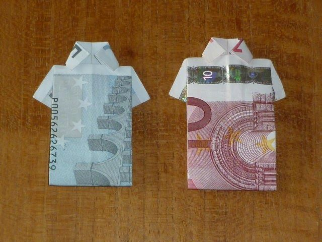 een shirt vouwen papiergeld misschien leuk voor een