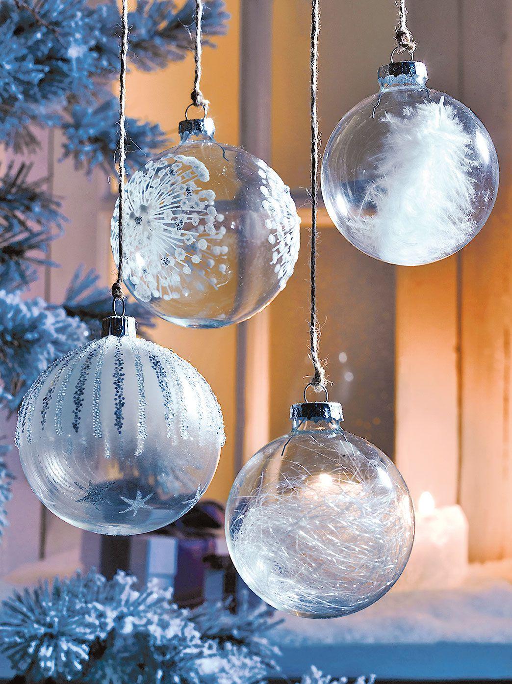 Boule De Noel Transparente A Decorer dedans boule en verre transparente garnie de polystyrène, plumes d.7 cm