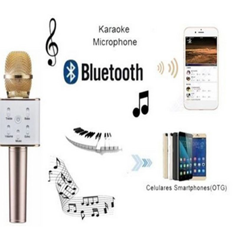 Wireless Q7 Karaoke Microphone, Portable Handheld Bluetooth Condenser Microphone and Speaker for for iPhone/iPad