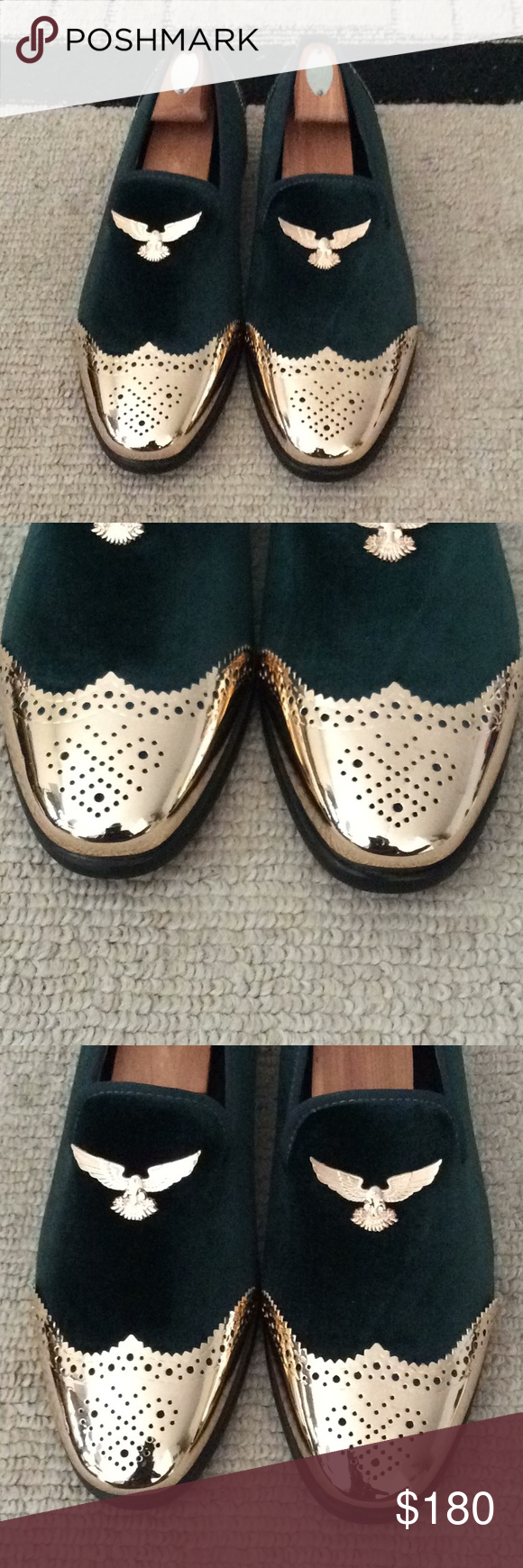 1ece73bdb3f Men Green Velvet Metal Loafers Shoes Green Velvet Loafers Follow my  Business page  Nanaloafers on