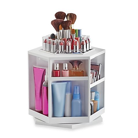 Lori Greiner Spinning Cosmetic Organizer In White Makeup
