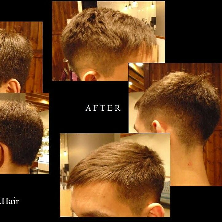 Men's haircut with a fade.