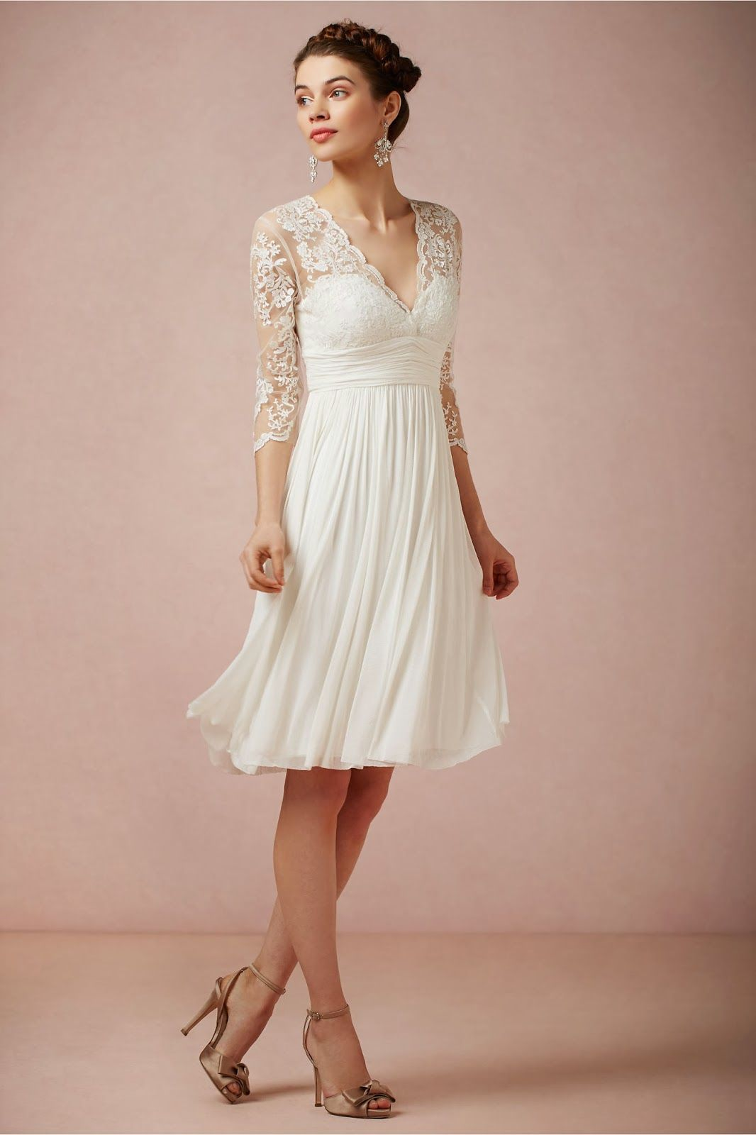 Short Wedding Dress with 3/4 Lace Sleeves | Bridal Dresses ...