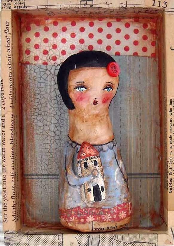 She lived in a little house... Clay,Paper sculpture in a box