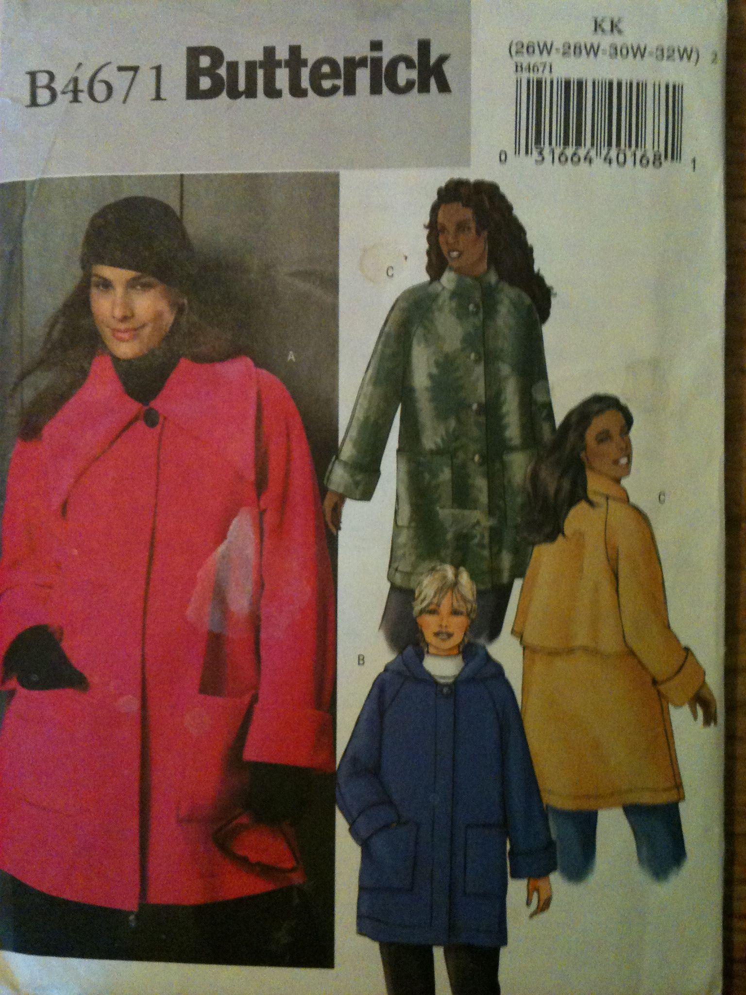 Butterick #4671. Woman's Coat, three styles, size 26W-32W. Copyright 2005.