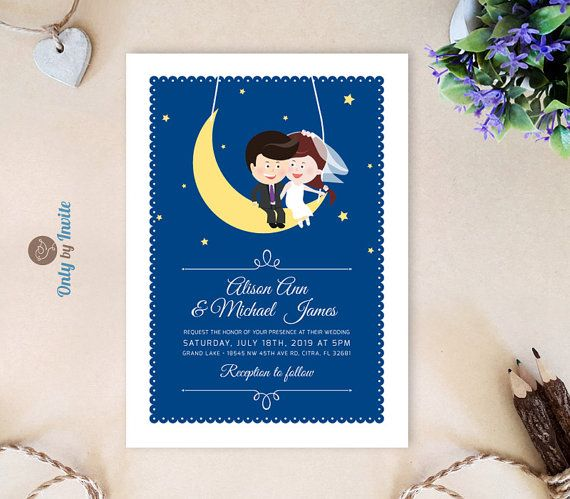 Funny invitations and RSVP cards featuring bride and groom on the