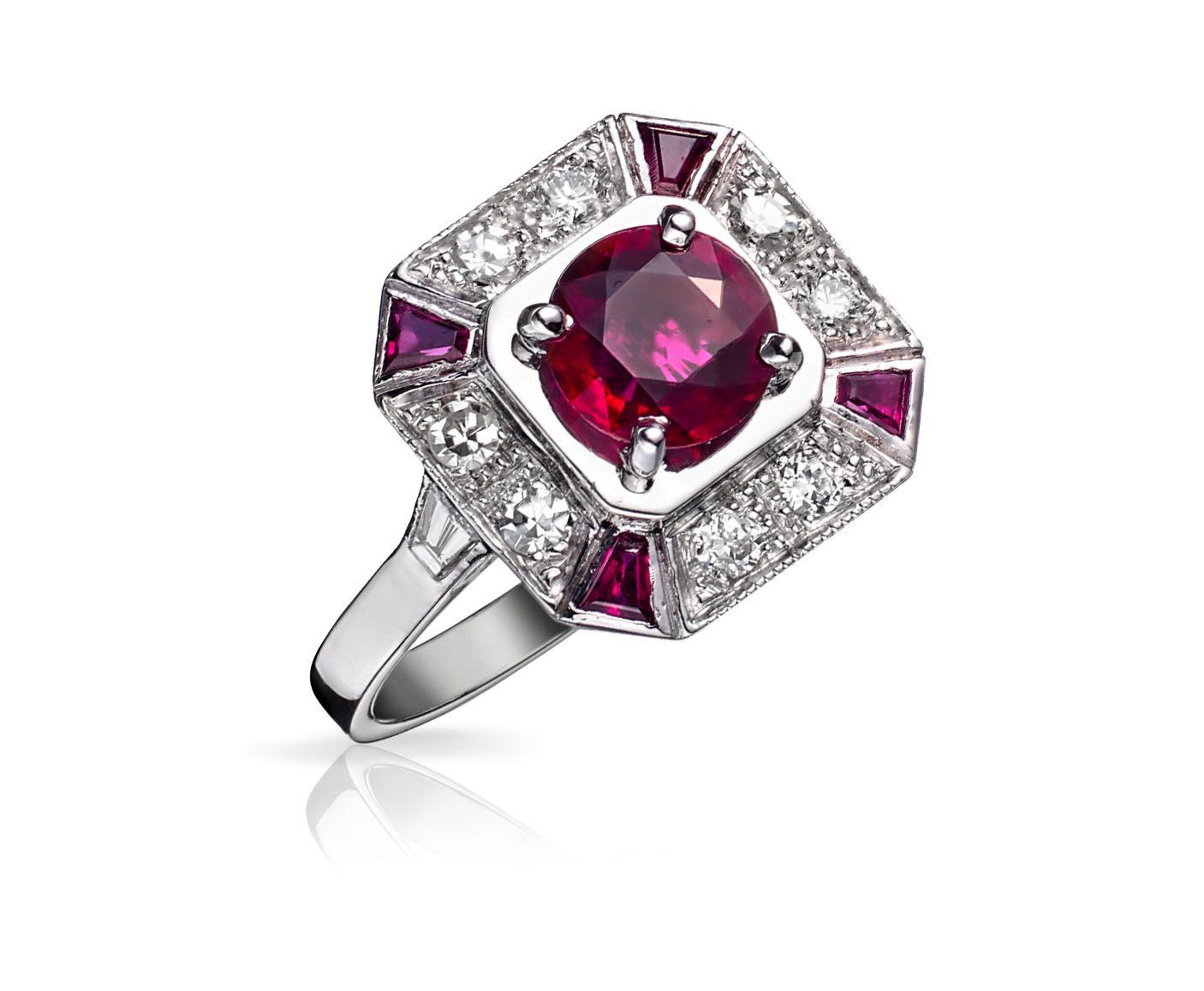 bague or rubis diamant ancienne