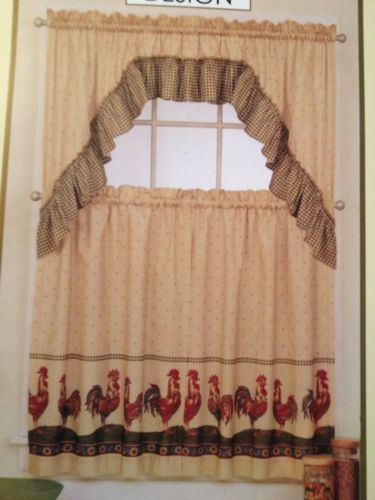 Kitchen Rooster Curtains 2 set country tier pair and swag ...