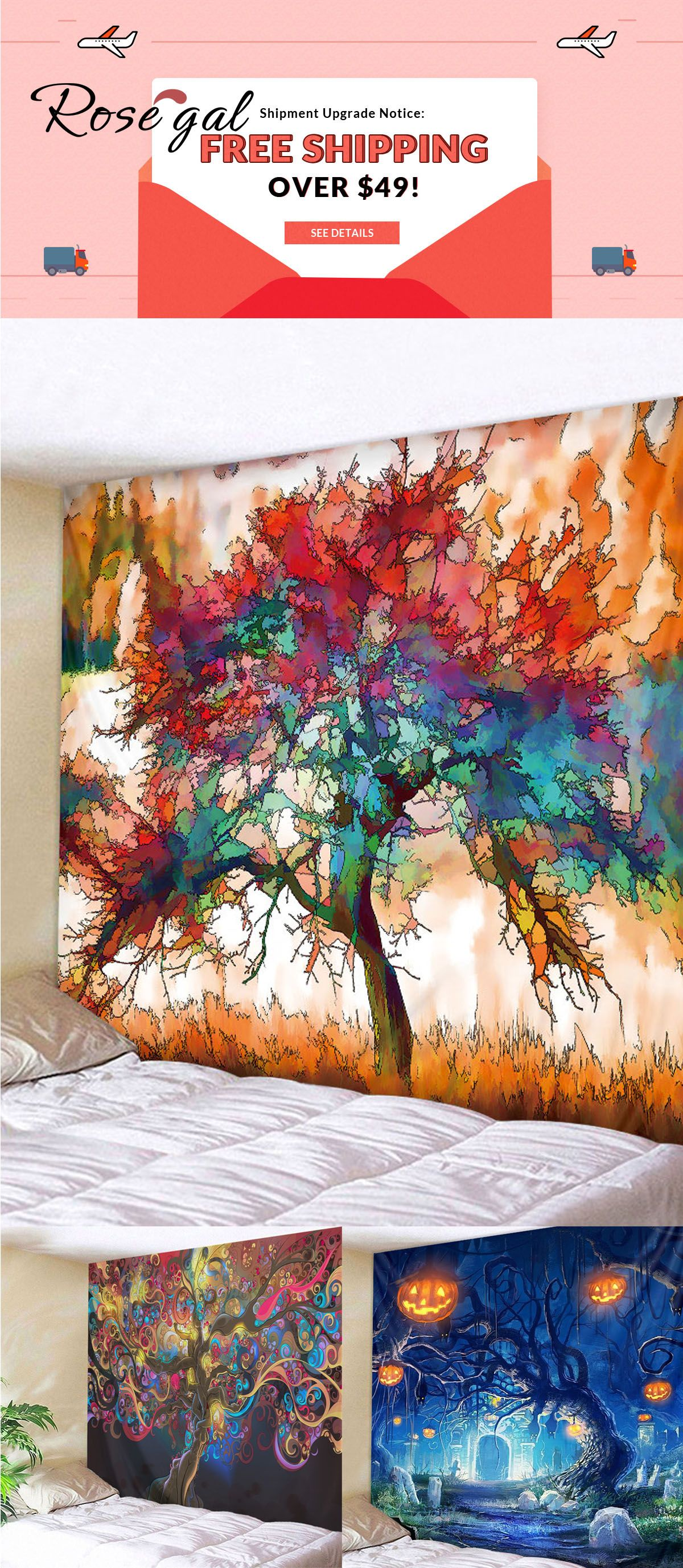 Free Shipping Over 49 Rosegal Tree Printed Wall Decor Colorful Wall Tapestry Rosegal Rosegal Com Roseg Colorful Wall Tapestry Tapestry Wall Canvas Painting