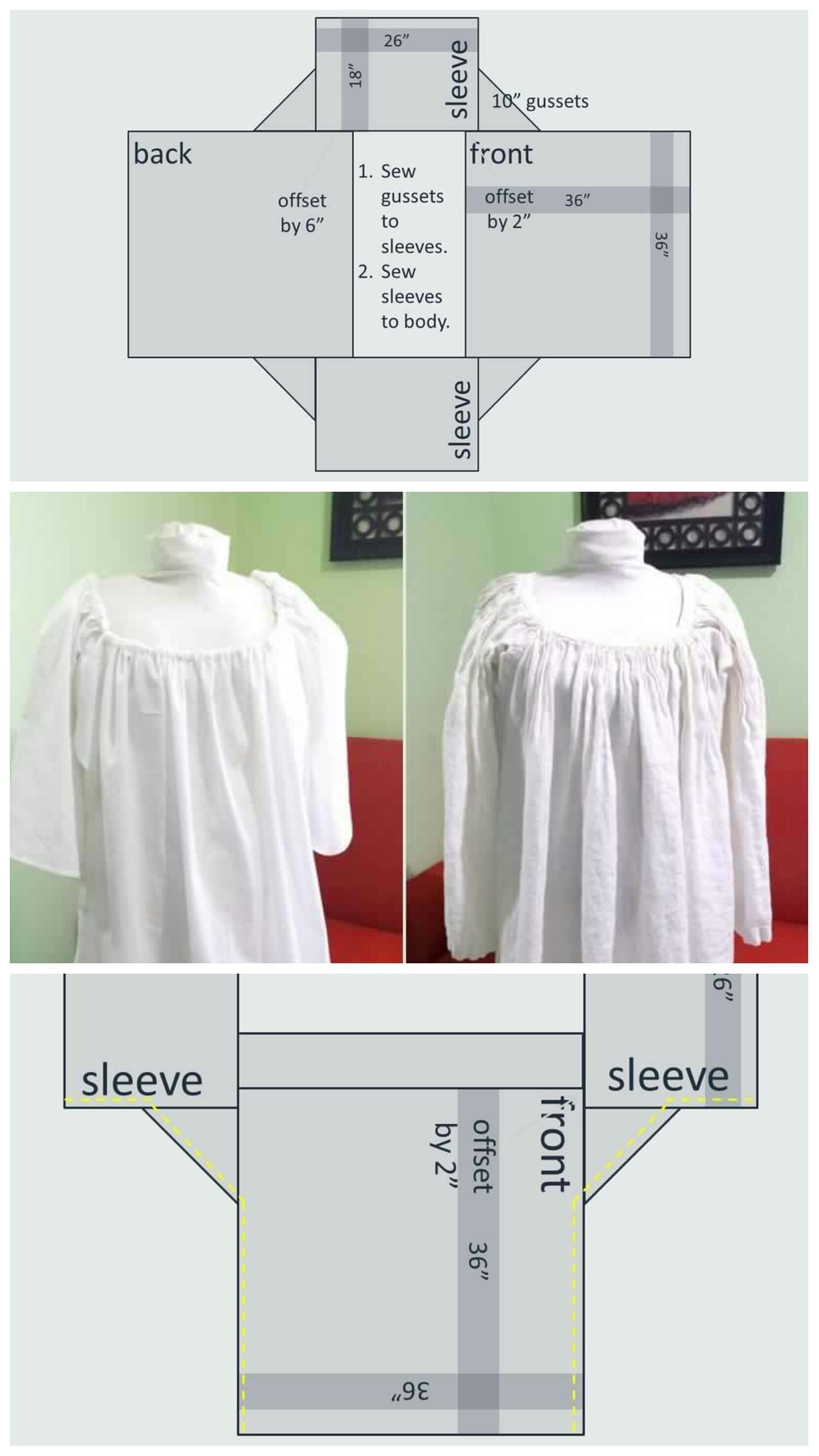 Tutorial on how to make a chemise without a pattern with fabric ...