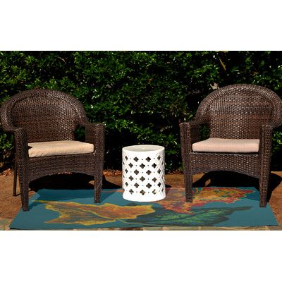 Charlton Home Adelina Flower Print Teal Outdoor Indoor/Outdoor Area Rug Rug Size: 2' x 3'