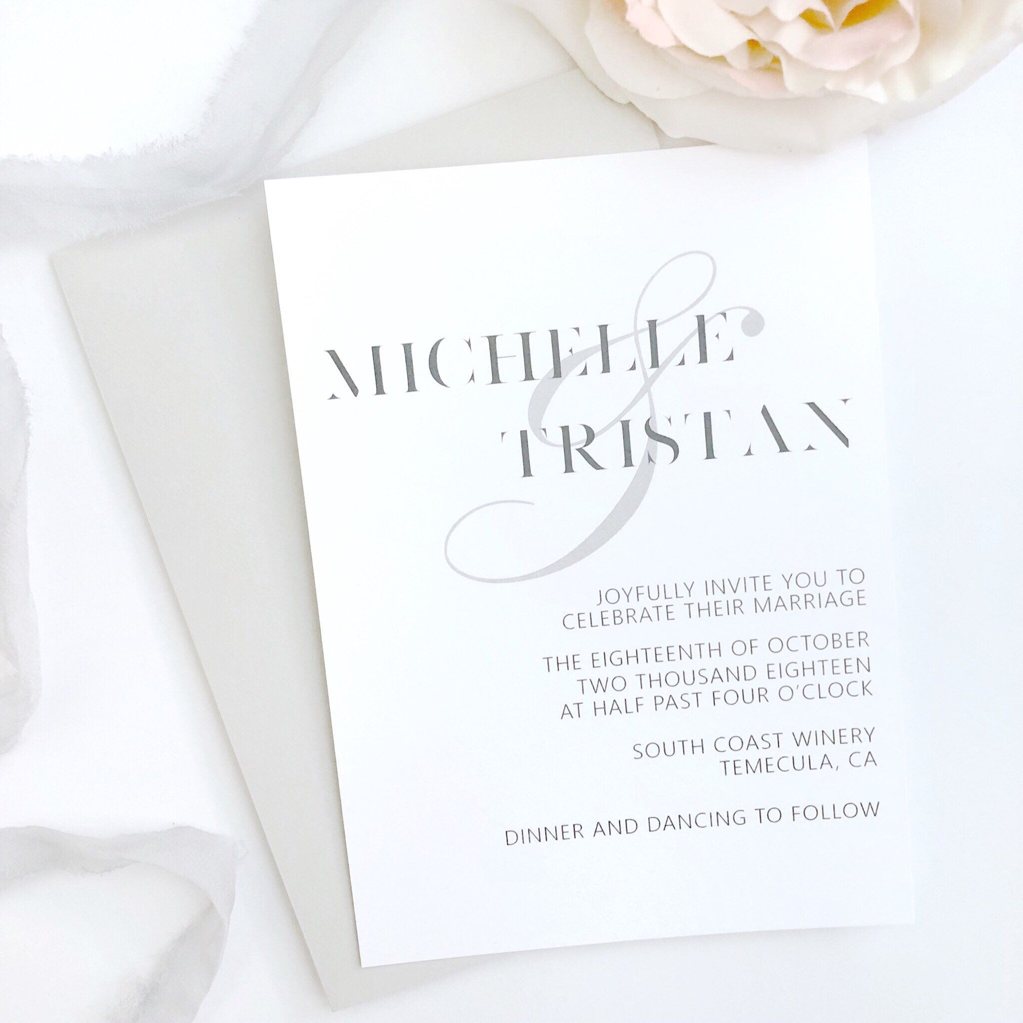Modern Wedding Invitation Template Professionally Printed Wedding - Simple wedding card template
