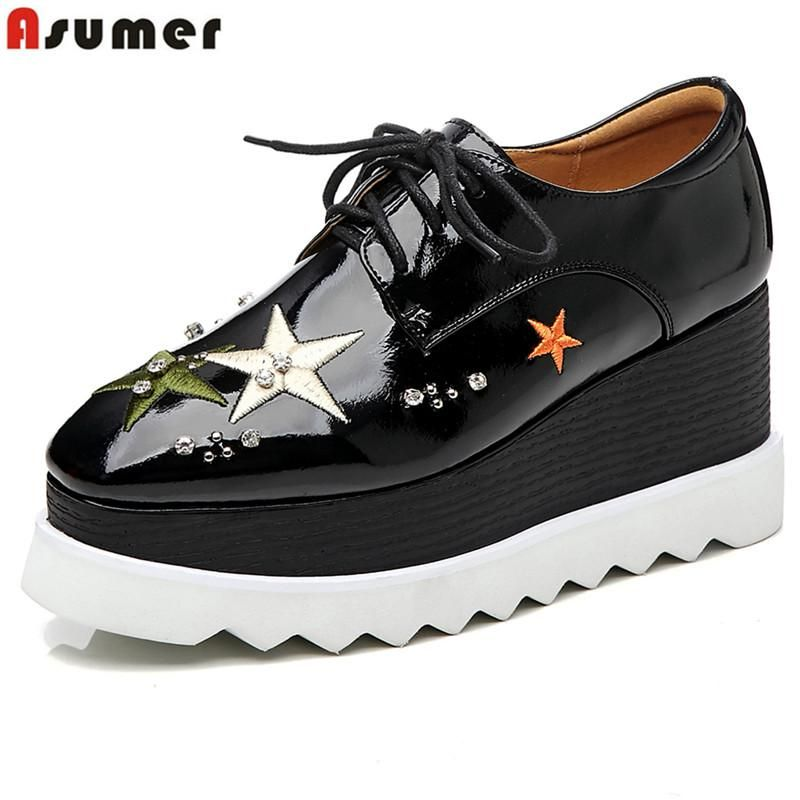 c033e182121 ASUMER Plus size 33-43 new wedges women pumps round toe lace up wedge  platform shoes non-slip spring autumn ladies shoes. Yesterday s price  US   90.00 ...