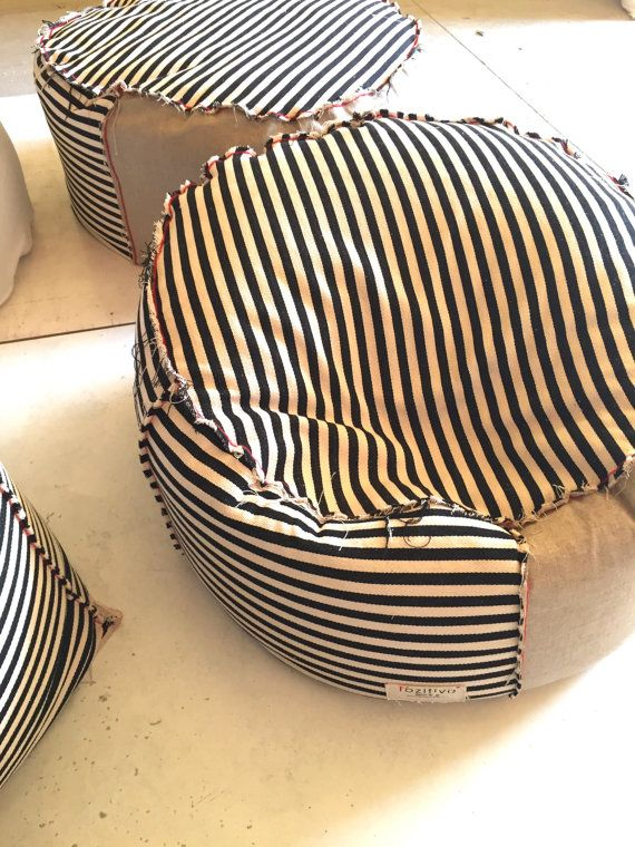 Striped Black And White Beanbag Eco Style By