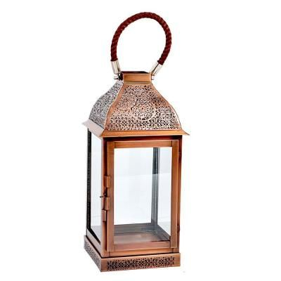 Hampton Bay Copper Etching Patio Medium Candle Lantern With Rope  Handle DS 24197
