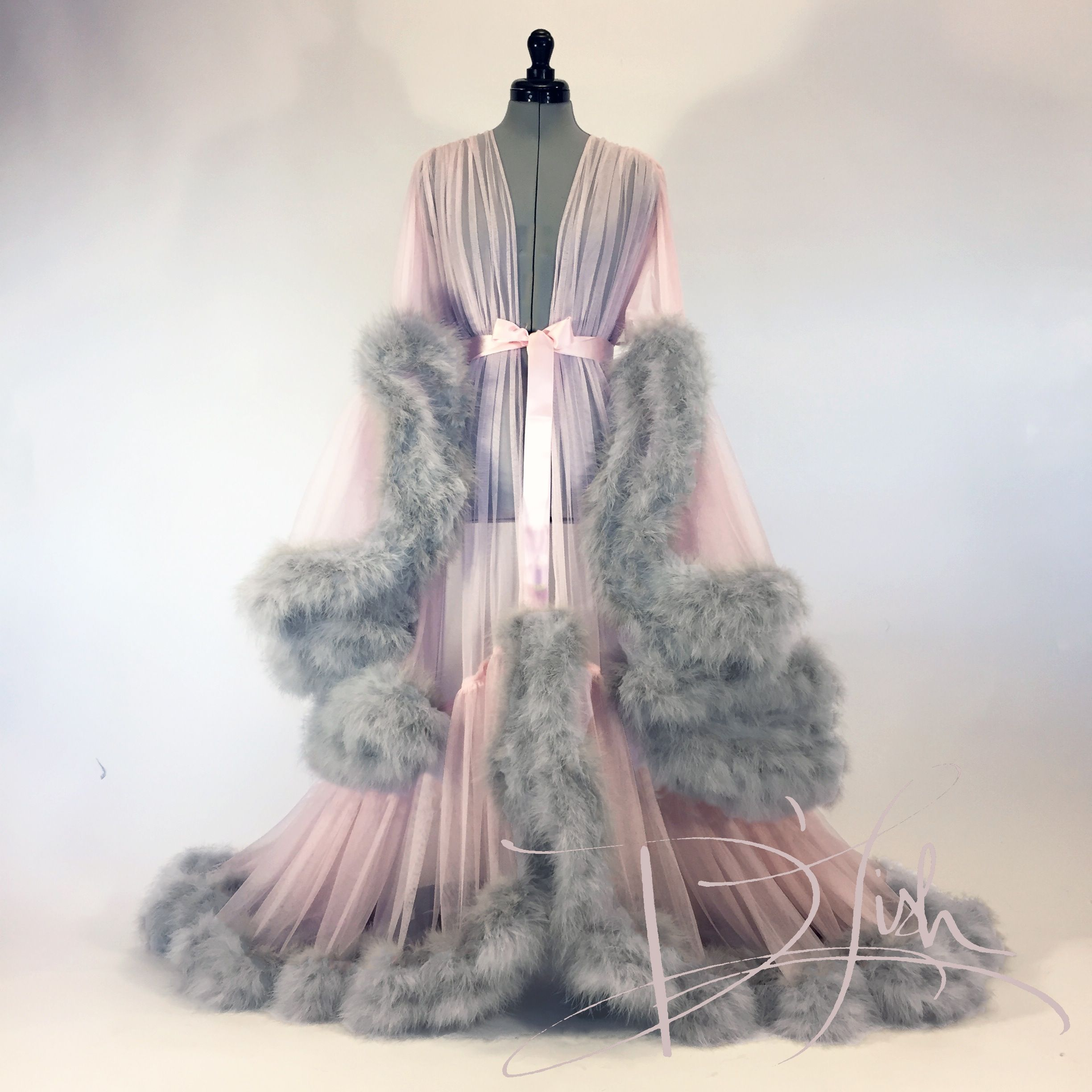 Image of Pink   Dove Grey Marabou Cassandra Dressing Gown  37cd5d756