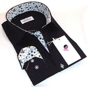 New Mens Formal Smart Italian Black Slim Fit Floral Collar Shirt M L XL 2XL 4XL